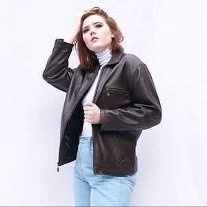90s Vintage Chocolate Brown Leather Jacket